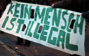 Demoplakat Kein Mensch ist illegal